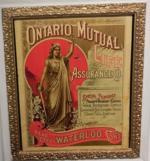Tin advertising sign, made in Hamilton.